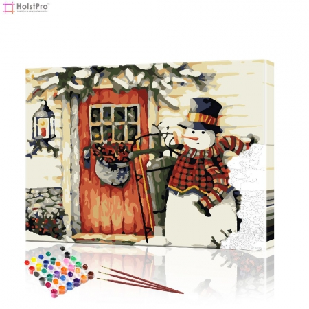 "Картина по номерам ""Снеговик у дома"" PBN0414, размер 40х50 см"