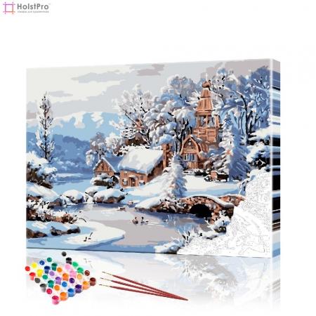 """Картина по номерам """"Храм в зимнем лесу"""" PBN0418, размер 40х50 см"""