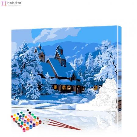 """Картина по номерам """"Дом в зимнем лесу"""" PBN0420, размер 40х50 см"""