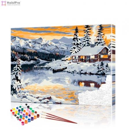 """Картина по номерам """"Дом в снежных горах"""" PBN0422, размер 40х50 см"""