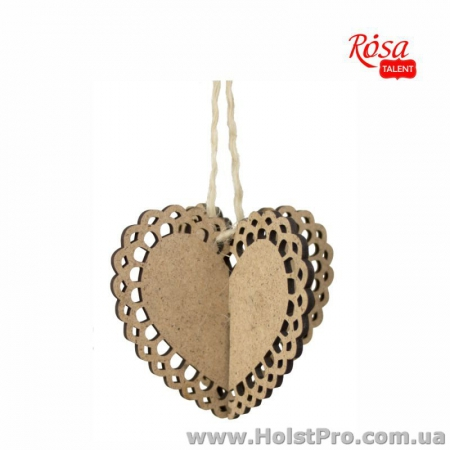 Заготовки для декупажа, Заготовка Серце ажурное 3D 2, ДВП, 10х10см, 2шт