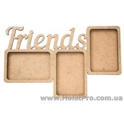 "Заготовки для декупажа, фото-рамка ""Friends"", МДФ, 38х23,5х0,6см"