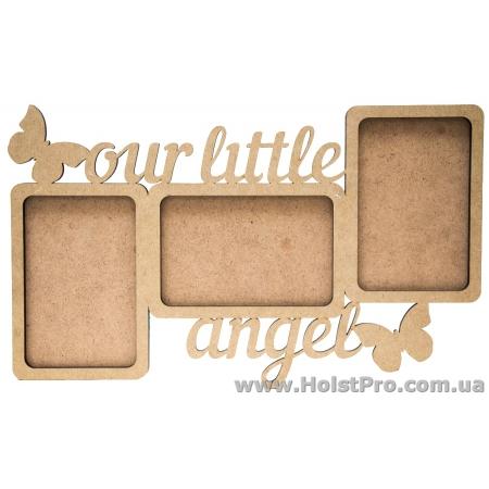 """Заготовки для декупажа, фото рамка """"Our little angel"""", МДФ, 38х22х0,6см"""
