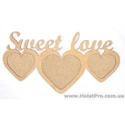 """Заготовки для декупажа, фоторамка """"Sweet Love"""", МДФ, 37х20см"""
