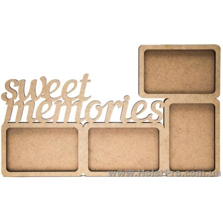 """Заготовки для декупажа, фоторамка """"Sweet memories"""", МДФ, 43х27х0,6см"""