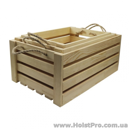Заготовки для декупажа, Ящик прямоугольный, 45х30х21см, сосна