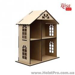Заготовки для декупажа, Кукольный домик двухэтажный, МДФ, 49х41х20см