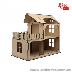 Заготовка для декора, Кукольный домик с балконом, МДФ, 58х31х53см