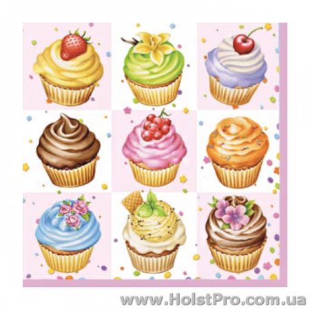 "Салфетки для декупажа, ""Cupcakes"", 33*33 см, 18,5 г/м2, 20 шт"