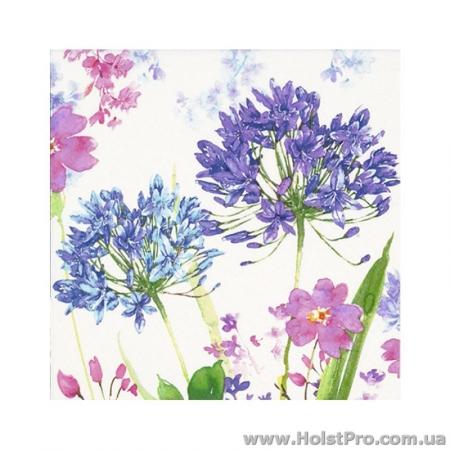 """Салфетки для декупажа, """"Акварельные цветы"""", сиреневые, 33*33 см, 17,5 г/м2, 20 шт, ti-flair"""