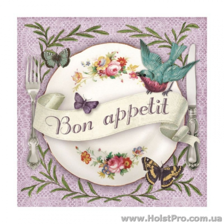 "Салфетки для декупажа, ""Bon Appetit"", 33*33 см, 18,5 г/м2, 20 шт, Abiente"