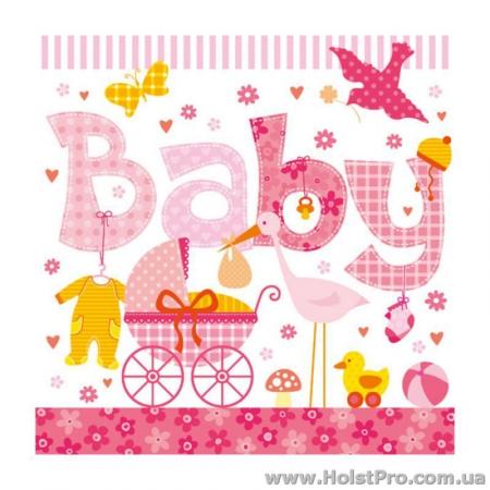"Салфетки для декупажа, ""Baby"", розовые, 33*33 см, 18,5 г/м2, 20 шт, Abiente"