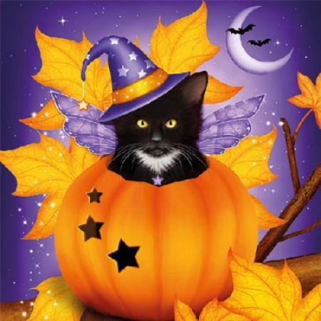 "Салфетки для декупажа, ""Halloween cat"", 33*33 см, 18,5 г/м2, 20 шт, Abiente"