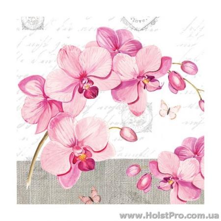 """Салфетки для декупажа, """"Веточка орхидеи"""", 33*33 см, 18,5 г/м2, 20 шт, Abiente"""
