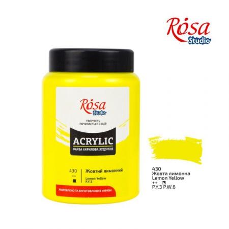 Краска акриловая, Желтая лимонная, 400 мл, ROSA Studio