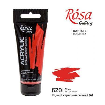 Краска акриловая, Кадмий красный светлый, 60мл, ROSA Gallery