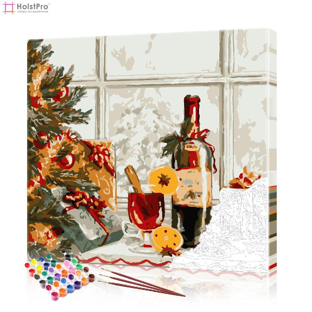 картины по номерам зима, новый год, рождество